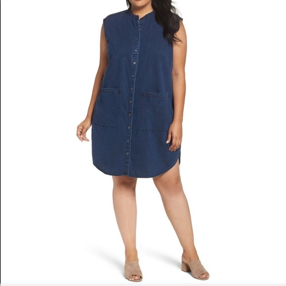 Eileen Fisher Dresses | Organic Cotton Denim Shirt Dress | Poshmark